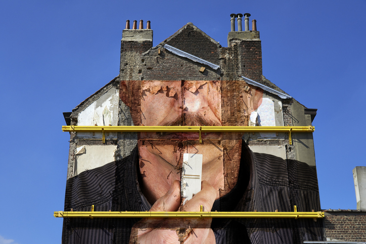 Referee Blowing A Whistle Paint On Walls From Housing Demolition Site