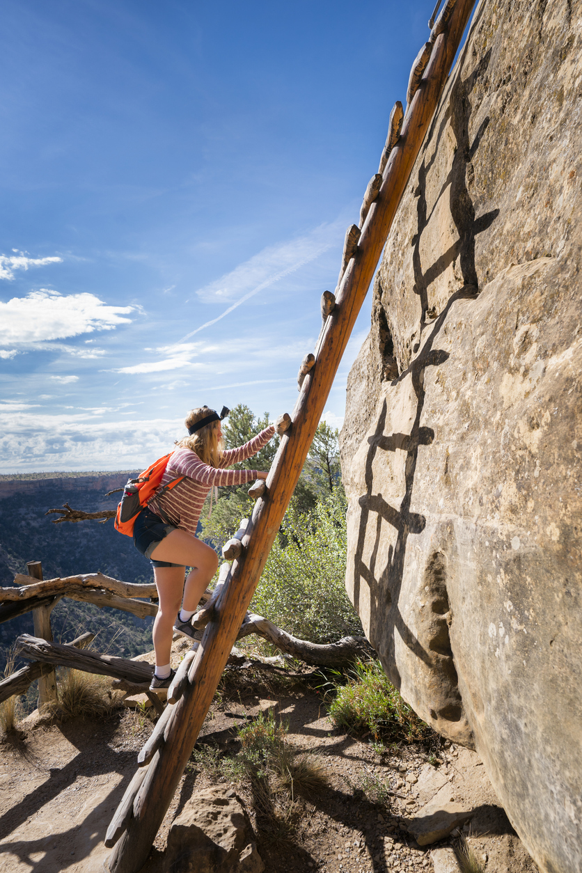 Cliambing A 32 Ft Ladder At Mesa Verde